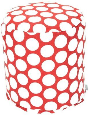 Majestic Home Goods Red Hot Large Polka Dot Small Pouf