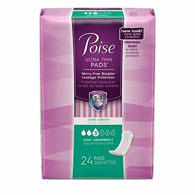Poise Incontinence Ultra Thins, Long, Light Absorbency,