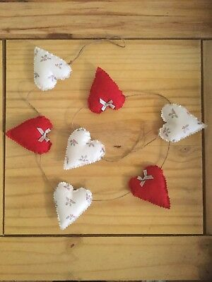 Handmade Christmas Xmas Festive Decoration Shabby Chic Heart Garland Bunting