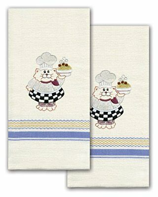 Tobin T212939 Stamped Kitchen Towel for Embroidery, Cat