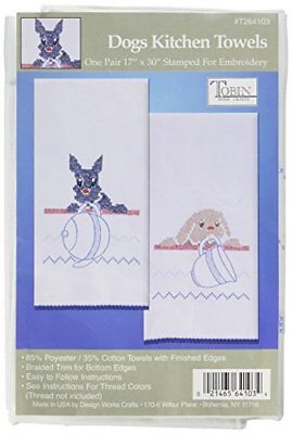 Tobin T264103 Stamped Kitchen Towel for Embroidery, Dog