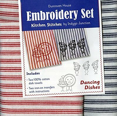 Dunroven House Dancing Dishes Kitchen Stitches Embroide