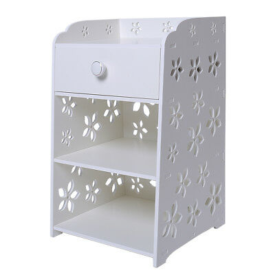 auwes Bedroom Bedside Table Rack Cabinet Organizer Night Stand with Drawer White
