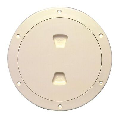 "Beckson 6"" Smooth Center Screw Out Deck Plate Beige 6.5"