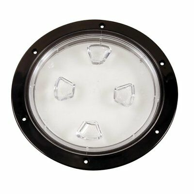 "Beckson 8"" Clear Center Screw-Out Deck Plate - Black (4"
