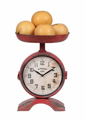 Creative Co-Op Metal 2-Sided Scale Shaped Clock, Red