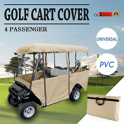 4 Passenger Golf Cart Cover Driving Enclosure Polyester Waterproof Secure Hook