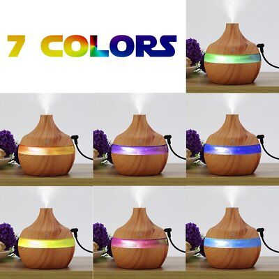 Wooden Air Humidifier Ultra Quiet Cool Mist 300ml Essential Oil Diffuser DEBB