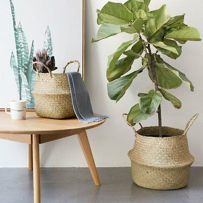 Foldable Seagrass Woven Potted Plants Storage House Flower Vase Hanging Basket #