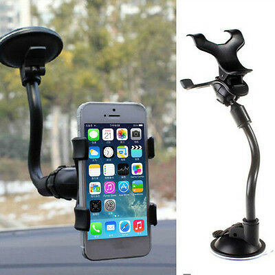 360° Rotating Car Windshield Mobile Phone Mount Holder Stand Bracket Black