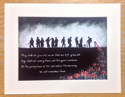 Large Limited Edition Print Of WW1 Soldiers And Poppies Art By Sarah Jane Holt