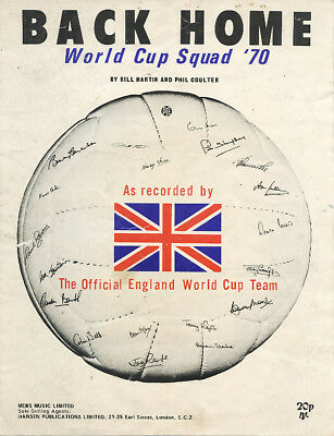 Back Home - England World Cup Squad 1970 - song sheet in good condition.