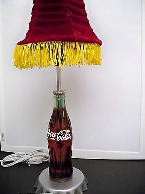 Coca-Cola Bottle Accent Lamp With Redshade And Coke Finial Topper