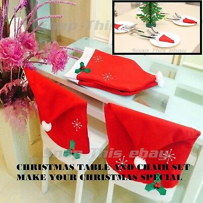 Santa Hat Dining Chair Covers Christmas Party Xmas Table Decoration Cutlery Hold