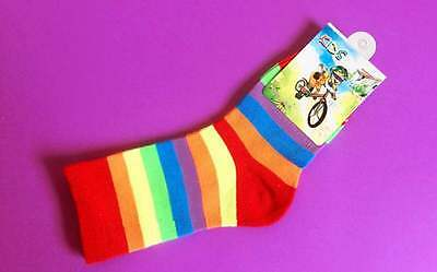 2 Pairs Children Boys Girls Kids Rainbow Striped Party Socks Costume Size 5-8