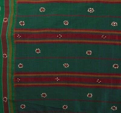 TCW Vintage Indian Art Silk Saree Hand Beaded Woven Fabric Sari