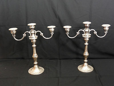 Gorham Sterling Silver Chantilly Candleabras Set w/ Box & Tags Weighted 750