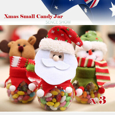 3pcs Set Xmas Christmas Santa Candy Jar Lollies Box  Kid Gift  Party Decoration