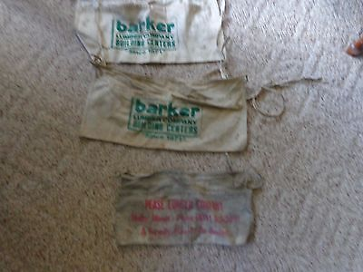 Lot Of 3 Vintage Carpenter Hardware Nail Aprons BARKER ~ PEASE LUMBER MALTA ILL.