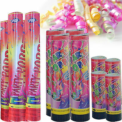 Party Poppers Confetti Cannon Shooter Birthday Christmas 3 Sizes Free P+P