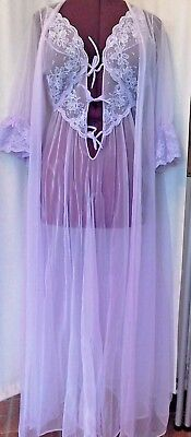 VINTAGE NYLON  LILAC cOlOR, NIGHTGOWN AND ROBE, large-extra large, lilac, sexy!