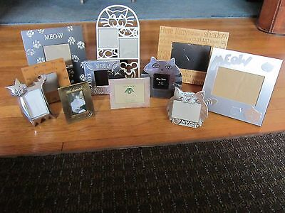 Cat Frames Photo Picture LOT of 11 Meow,Fish,Paws,Mouse Wood Metal Kitty Kitten