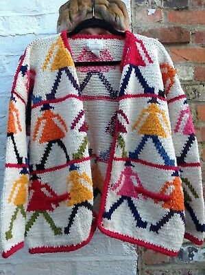 Express Tricot Cardigan -like AMANO design-Artisan Folkloric Wool Bolivia- L/XL