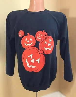 Vintage 1980's L HALLOWEEN Sweatshirt jack-o-lantern pumpkin black orange retro