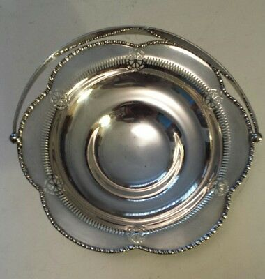 """Attractive Vintage Silverplate (Nickle Silver)  """"fruit/bread Basket"""" With Handle"""