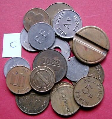 VERY COLLECTABLE BULK LOT OF 18 MIXED MACHINE/GAMING ETc METAL TOKENS        C