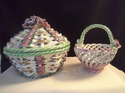 1970's Handmade Dishes from Spain Lattice / Rope Design /Applied Flowers