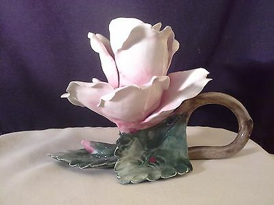 Vintage Capodimonte Porcelain Rose Flower Candle Holder Made In Italy Mollica