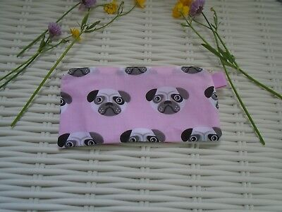 Pug Make Up Bag Purse Gift Idea Pugs Pink Handy Purses Handbag Pugs Hand Made Uk