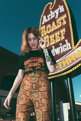 vtg PAISLEY PRINT high waist BUCKLE psychedelic hippie bell bottom pants 60s S