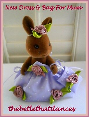 Sylvanian Families Clothes New Lilac Dress & Bag For Mum Rabbit,Squirrel,Fox Etc