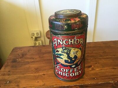Vintage Anchor Foods Chicory and Coffee Tin C1910 Kitchen Ware by G Wood & Sons