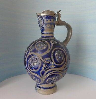 17th-18th Century Large Westerwald Stoneware Jug With Pewter Mounts