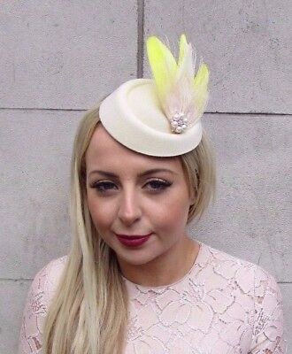 Cream Yellow Rose Gold Feather Pillbox Hat Fascinator Headpiece Vtg Races 4195