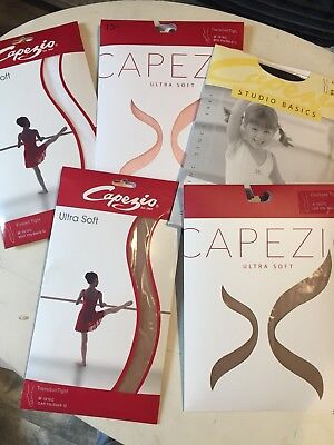 Capezio Tights - Pink, White, Caramel, Black - NEW - Footed/Footless/Transition