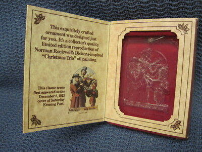 """1978 McDonald's Holiday Gift to you NORMAN ROCKWELL'S  """"CHRISTMAS TRIO"""" Ornament"""