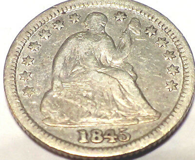1845 Seated Half Dime  No Reserve
