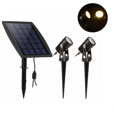 3 in 1 Solar Powered Spotlights with 2pcs Lamps Solar Lights for Garden Patio Fe