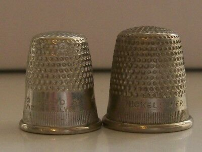 2 Nice Solid Nickel Silver Thimbles: Sizes 2 & 4