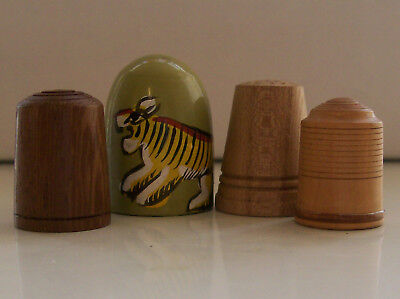 Nice Collection of 4 Wooden Thimbles: 1 Hand Painted