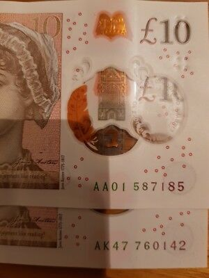 VERY RARE *AA01 & AK47* NEW £10 NOTES Low Serial Numbers Ten Pound Polymer Note