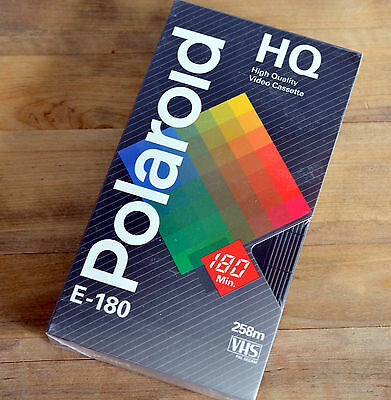 POLAROID HQ E-180 Blank VHS Cassette - NEW & SEALED - PAL SECAM 3 Hrs Empty