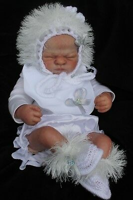 hand knitted romany baby /reborn set hat booties bib, white and silver nb  0/3m