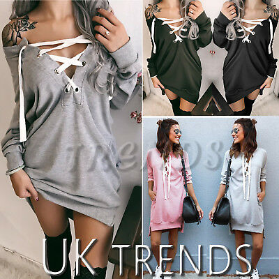 UK Womens Hooded Dress Off Shoulder Lace Up Sweater Jumper Ladies Mini Size 6-14