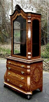 Splendid marquetry Dutch style LARGE Bookcase cabinet