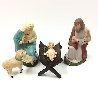 Lovely Antique German Christmas Nativity With Woolly Stick Leg Lamb